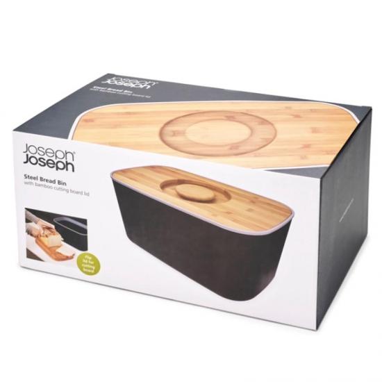 Стальная хлебница с бамбуковой разделочной доской-крышкой Joseph Joseph Steel Bread Bin 5