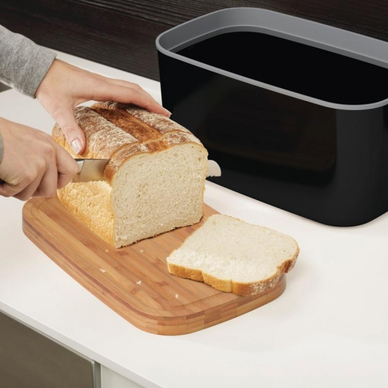 Стальная хлебница с бамбуковой разделочной доской-крышкой Joseph Joseph Steel Bread Bin 4