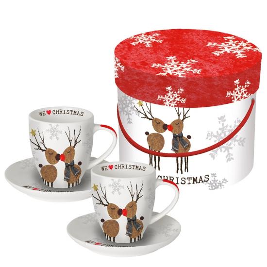 Набор чашек для эспрессо в подарочной упаковке We love Christmas 1