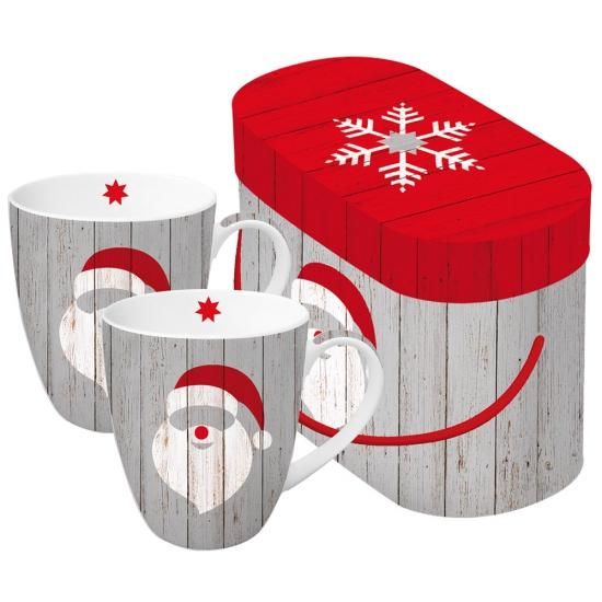 Набор кружек в подарочной коробке Santa on wood 1