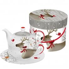 Набор заварник, чашка и блюдце в подарочной коробке Deer Friends