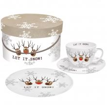 Набор чашка, блюдце и десертная тарелка в подарочной коробке Oh! Let it Snow!