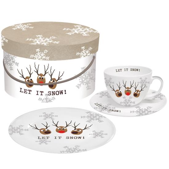 Набор чашка, блюдце и десертная тарелка в подарочной коробке Oh! Let it Snow! 1
