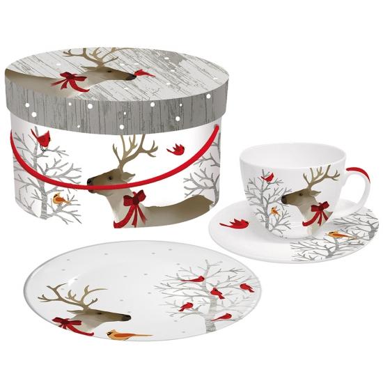 Набор чашка, блюдце и десертная тарелка в подарочной коробке Deer Friends 1
