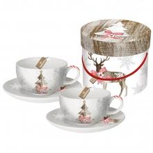 Набор чашек для капучино в подарочной коробке Country Xmas