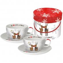 Набор чашек для капучино в подарочной упаковке We love Christmas