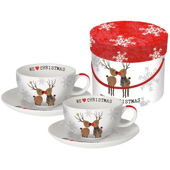 Набор чашек для капучино в подарочной упаковке We love Christmas 1
