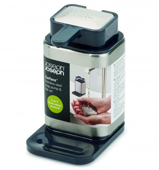 Диспенсер с металлическим мылом Joseph Joseph Surface™ Soap Pump & Bar Set 1