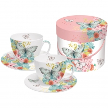 Набор чашек для капучино в подарочной коробке Louise Butterfly