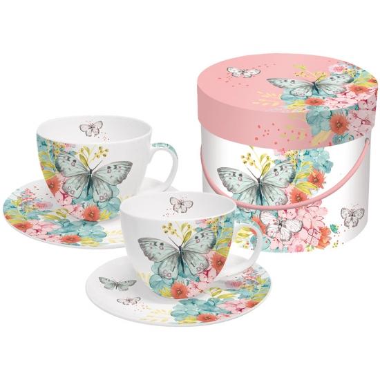 Набор чашек для капучино в подарочной коробке Louise Butterfly 1