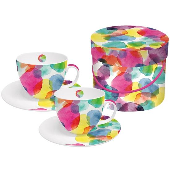 Набор чашек для капучино в подарочной коробке Aquarell Dots 1