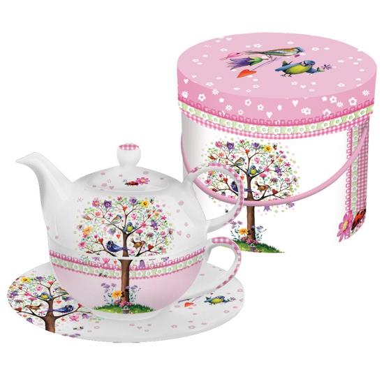 Набор заварник, чашка и  блюдце в подарочной коробке Love Tree 1