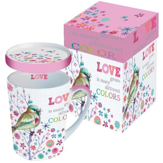 Кружка с крышкой в подарочной коробке Love Grows 1