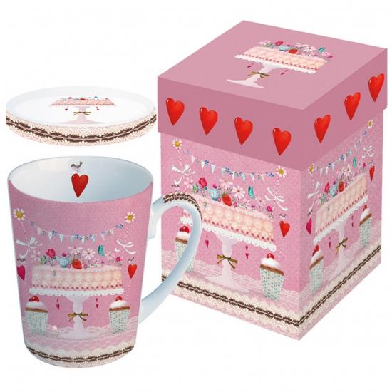 Кружка с крышкой в подарочной коробке Lovely Cake 1