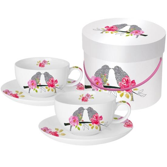 Набор чашек для капучино в подарочной коробке Love Birds 1