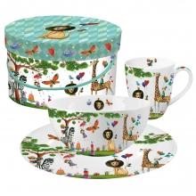 Кружка+миска+тарелка в подарочной коробке Animals Garden