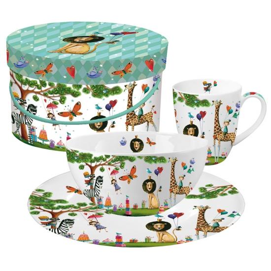 Кружка+миска+тарелка в подарочной коробке Animals Garden 1
