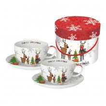Набор чашек для капучино в подарочной коробке Family Christmas 200 ml