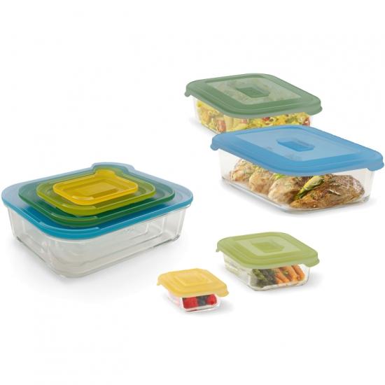 Комплект из восьми стеклянных контейнеров Joseph Joseph Nest™ Glass Storage Set 4X2 1