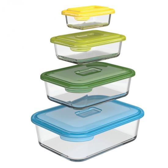 Комплект из восьми стеклянных контейнеров Joseph Joseph Nest™ Glass Storage Set 4X2 3